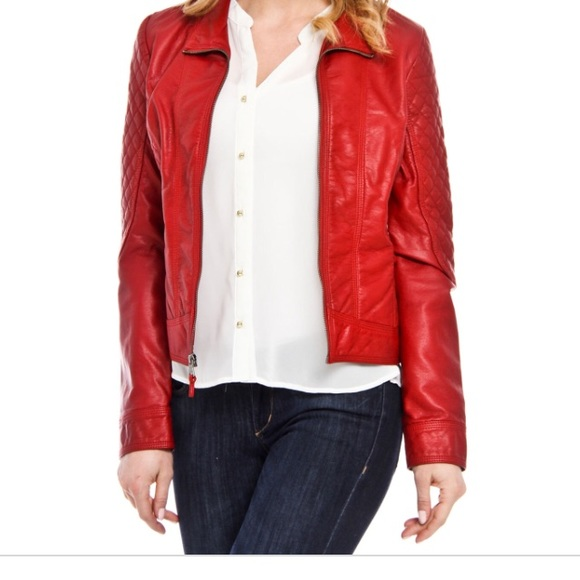 enjoy free shipping hot new products cheap for discount NWOT Red Jessica Simpson Faux Leather Jacket
